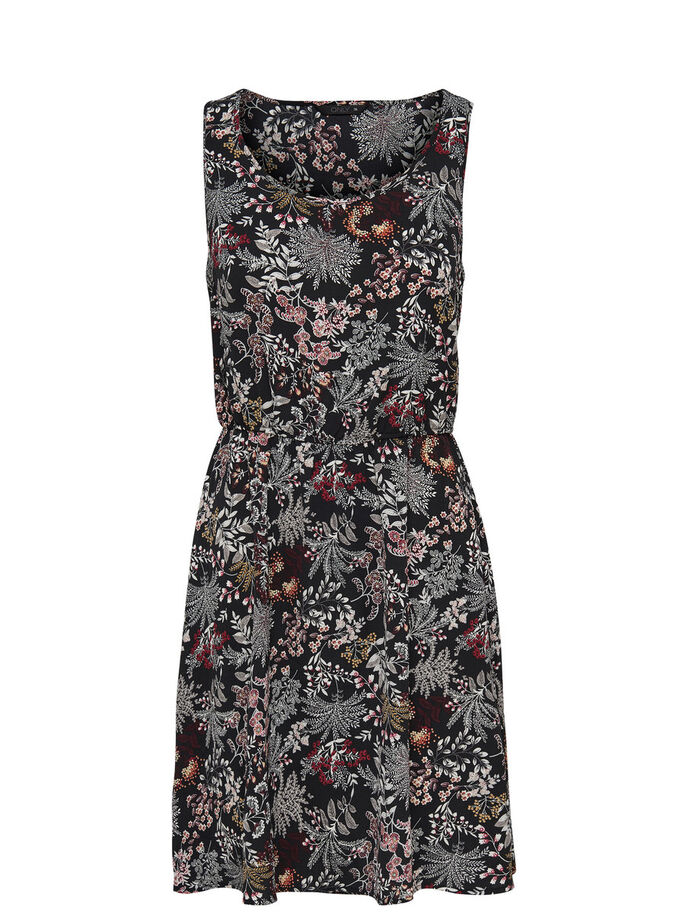 PRINTED SLEEVELESS DRESS, Black, large