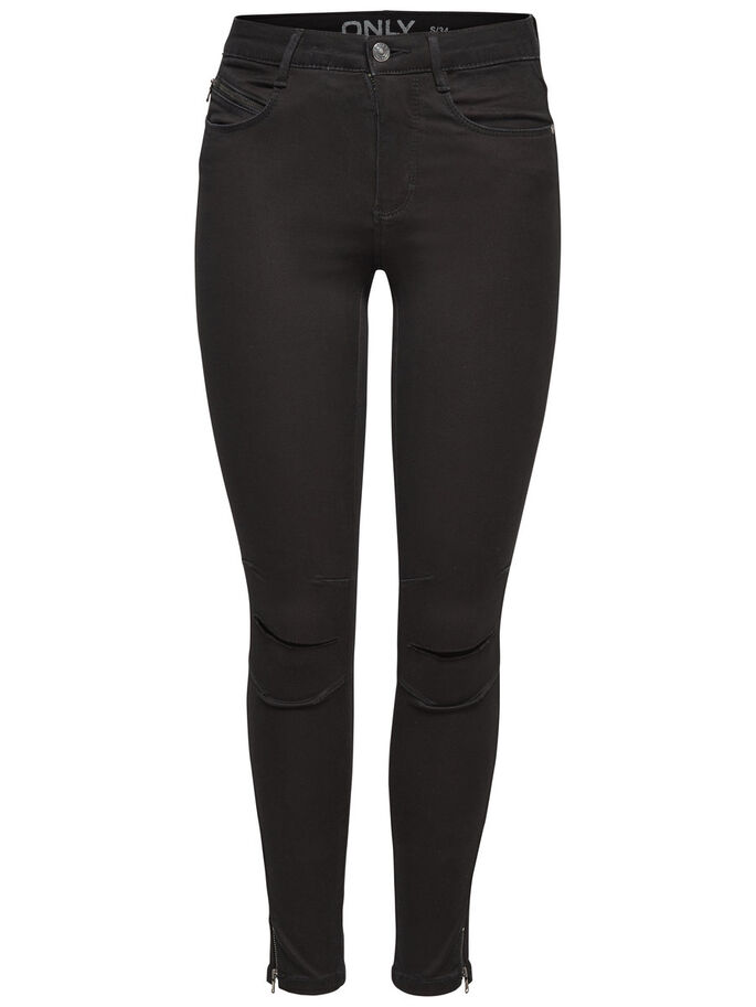 ROYAL KNEECUT BIKER ANKLE SKINNY JEANS, Black, large