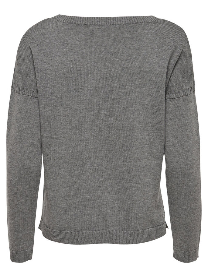 DETAILED KNITTED PULLOVER, Medium Grey Melange, large