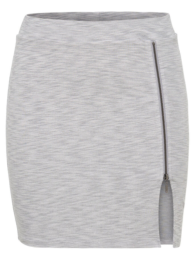 ZIP SKIRT, Light Grey Melange, large