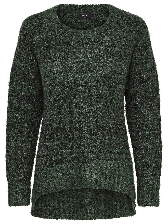 EINFARBIGER STRICKPULLOVER, Tarmac, large