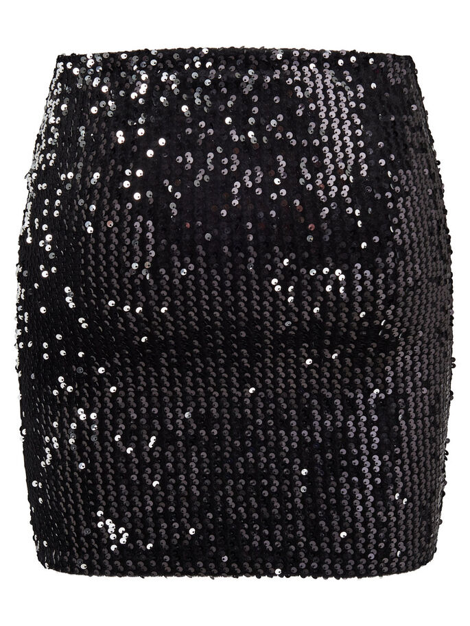 SEQUINS SKIRT, Black, large