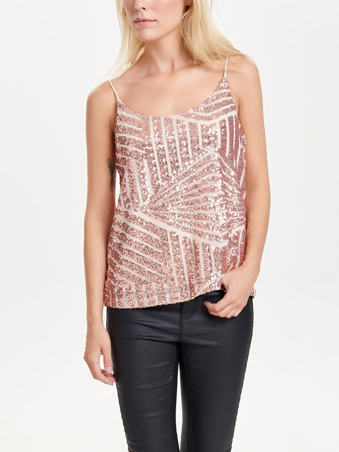 PAILLETTEN MOUWLOZE TOP, Rose Gold Colour, large