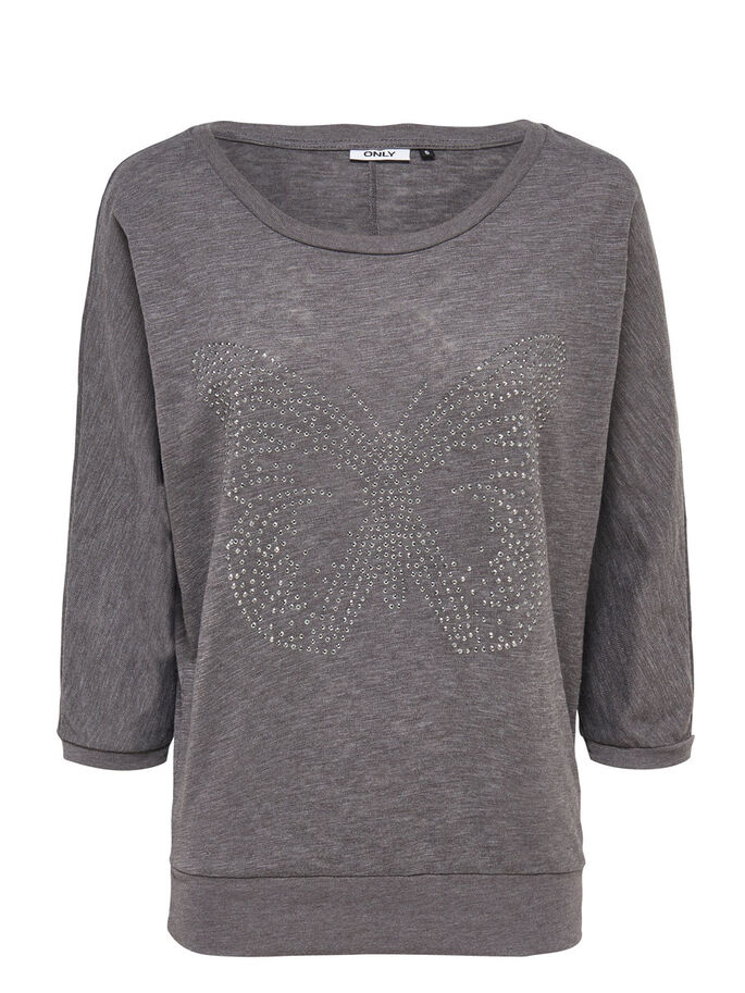 LOOSE FIT TOPP MED 3/4 ERMER, Dark Grey Melange, large