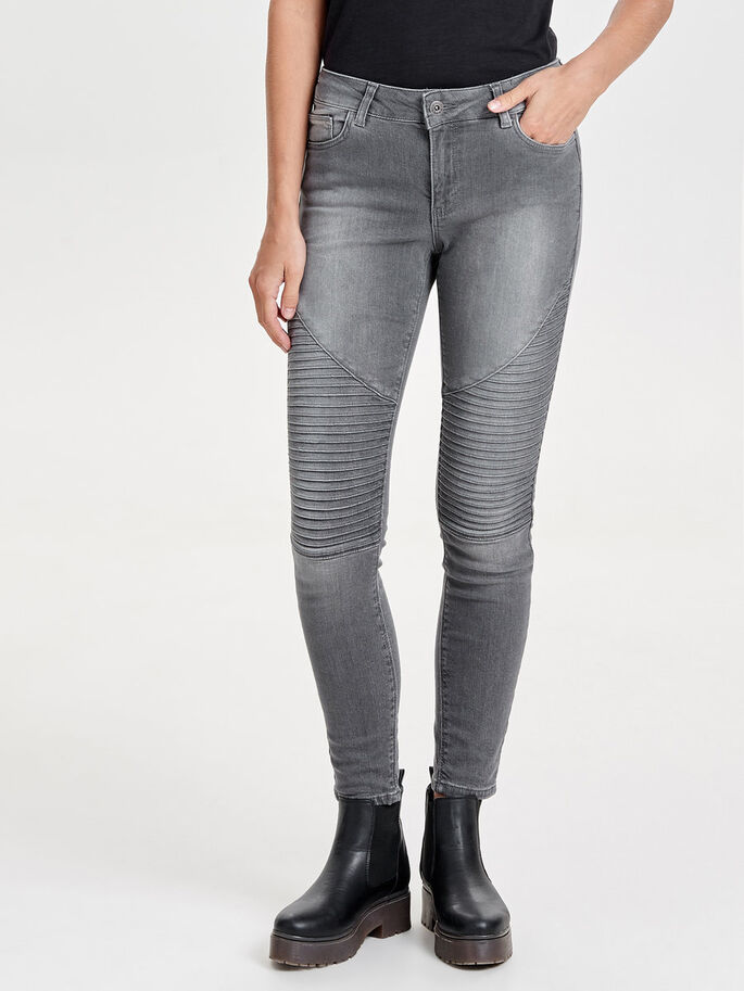 CARMEN REG BIKER JEAN SKINNY, Grey Denim, large