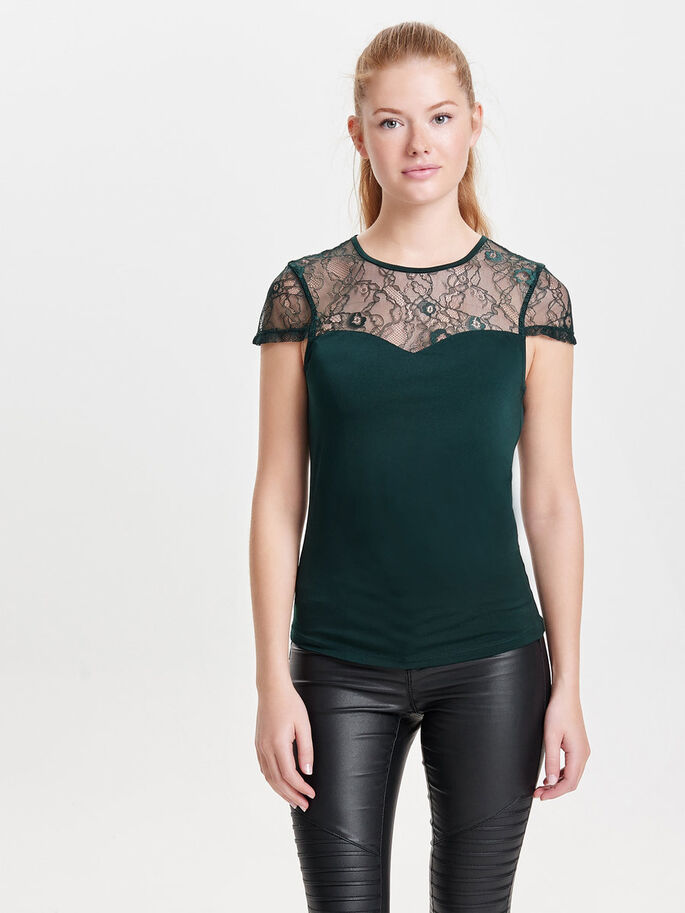 LACE SHORT SLEEVED TOP, Scarab, large