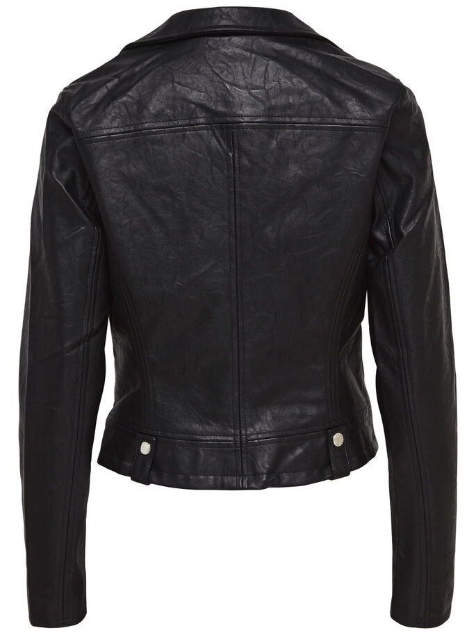 ÉCUSSON MOTARD VESTE SIMILI CUIR, Black, large