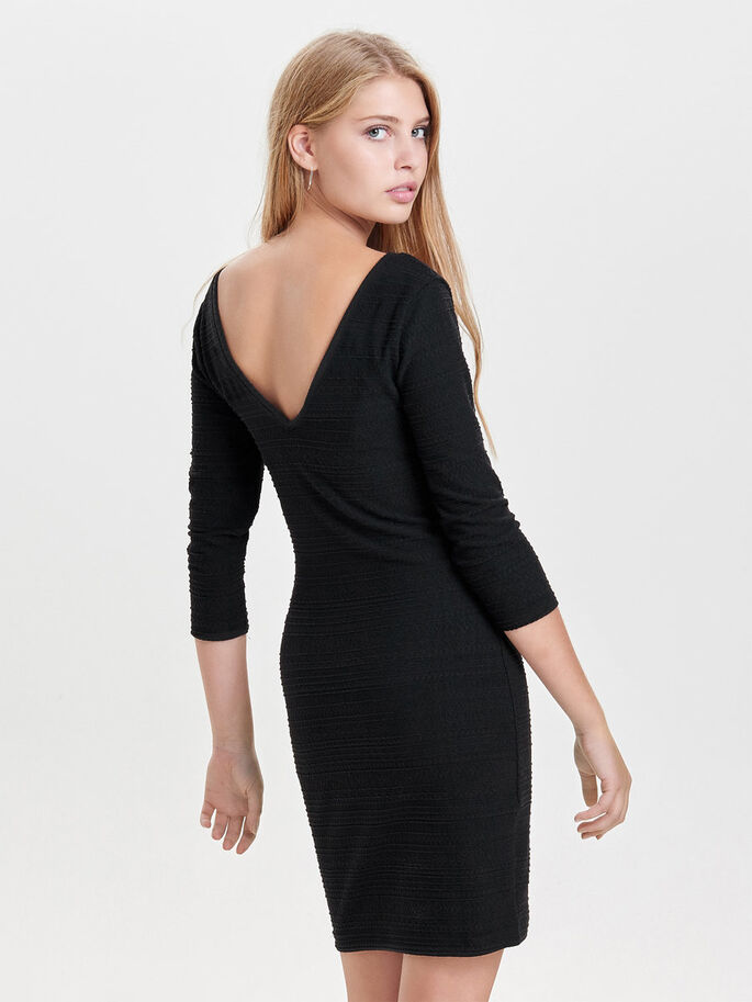 SOLID SHORT DRESS, Black, large