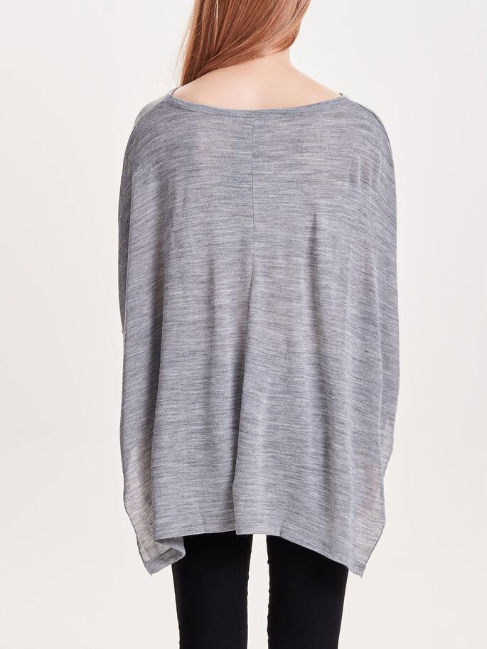 LØS TOPP MED 3/4 ERMER, Light Grey Melange, large