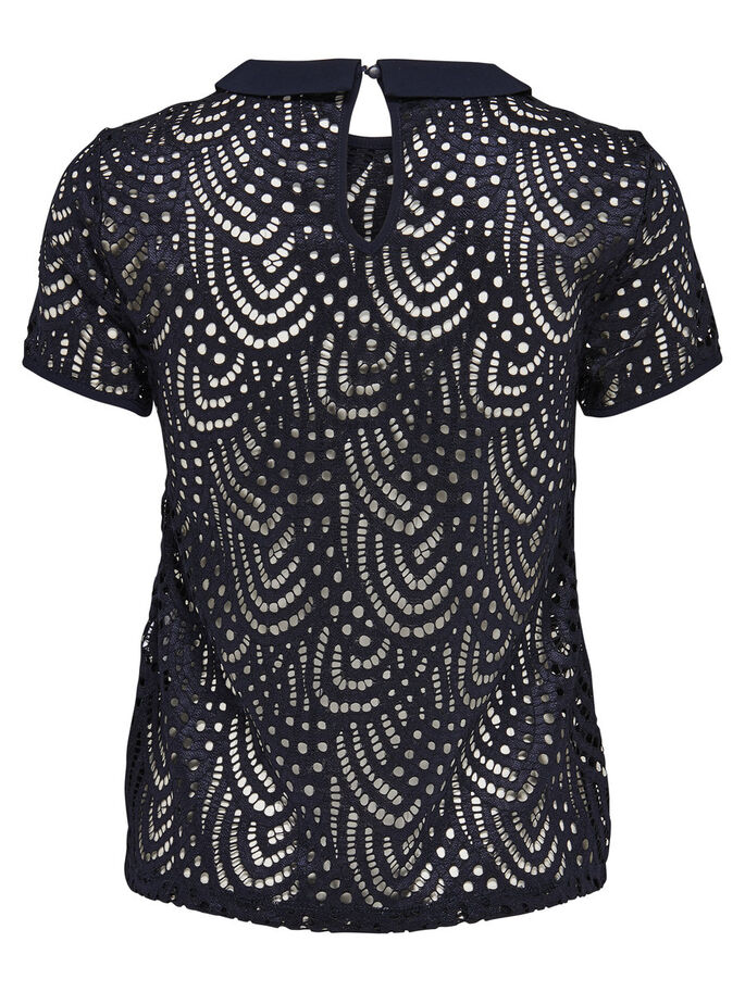 LACE SHORT SLEEVED TOP, Night Sky, large