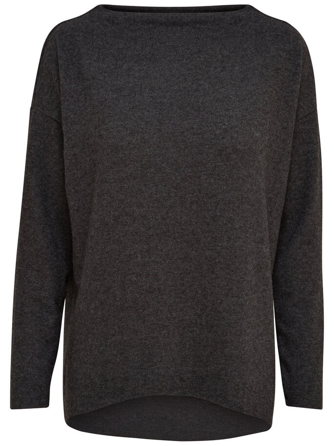 LÄSSIGER STRICKPULLOVER, Dark Grey Melange, large