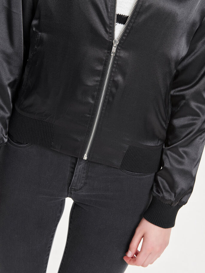 SHINY BOMBER JACKET, Black, large