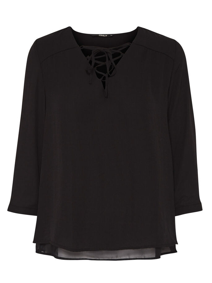 EFFEN TOP MET 3/4 MOUWEN, Black, large