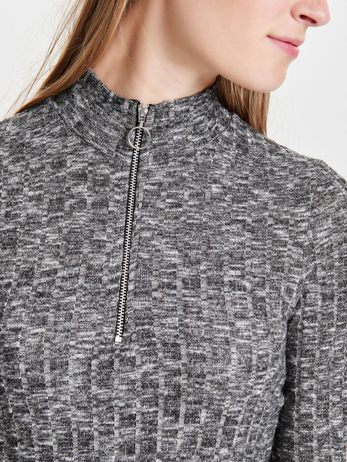 DETALJERET TOP MED 3/4-ÆRMER, Dark Grey Melange, large