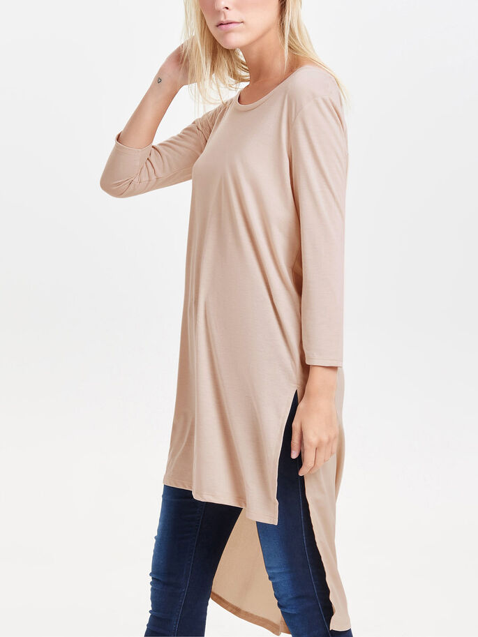 HIGH-LOW 3/4 SLEEVED TOP, Moonlight, large