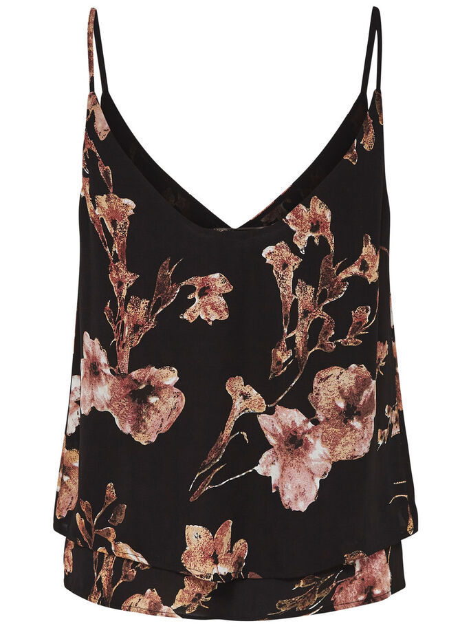 PRINTED TOP, Black, large