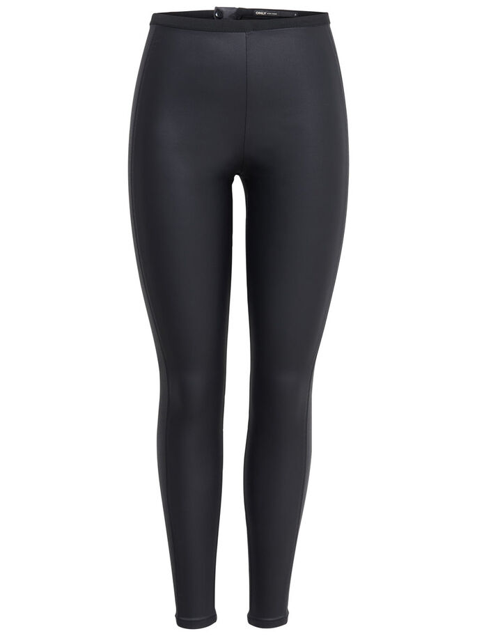 GLANSIGA HÖGA LEGGINGS, Black, large