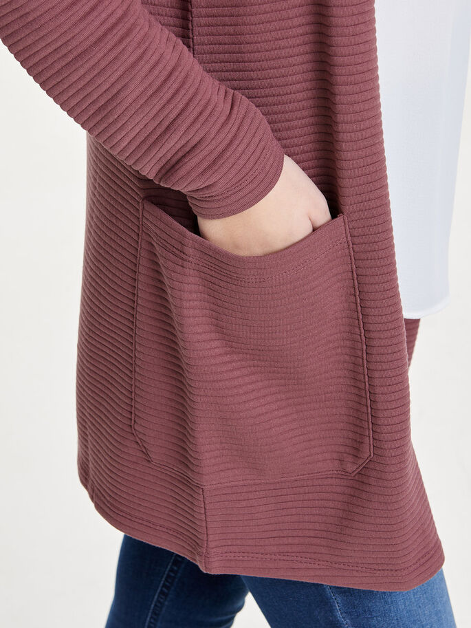 SWEAT CARDIGAN, Rose Brown, large