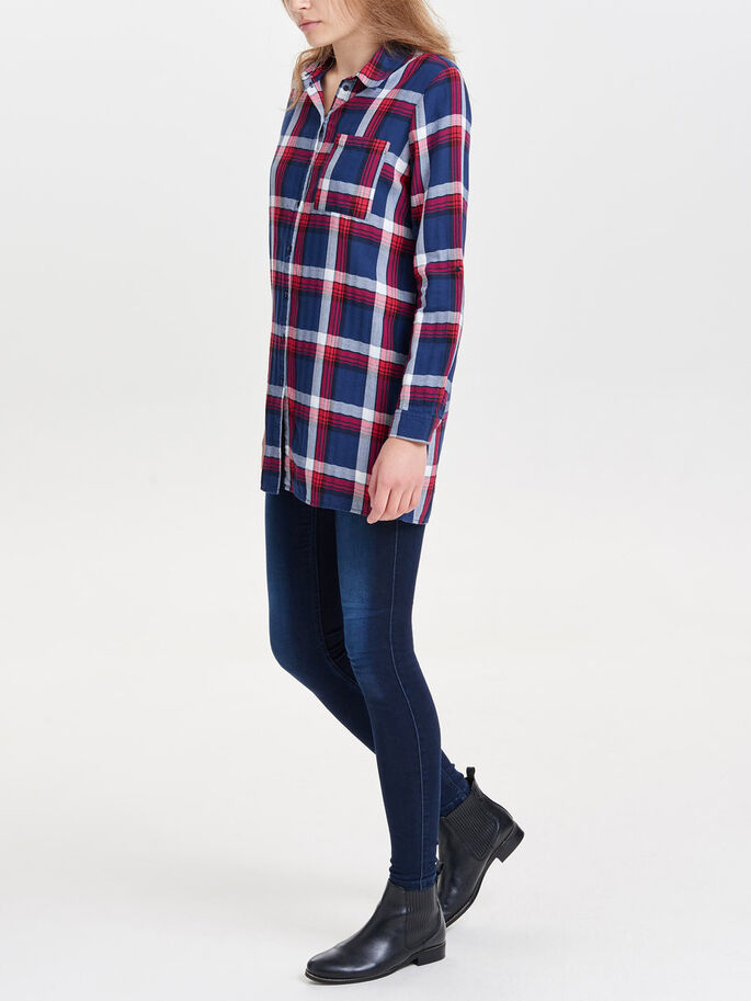 CHECKED LONG SLEEVED SHIRT, Cloud Dancer, large