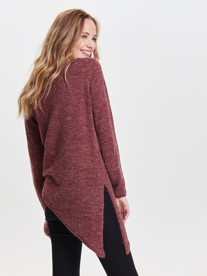 ASYMMETRICAL KNITTED PULLOVER, Syrah, large