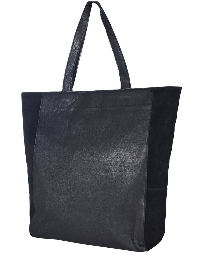 SUEDE LEATHER SHOPPER BAG, Black, large
