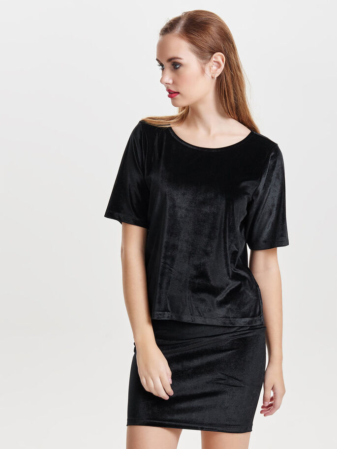 LOOSE SHORT SLEEVED TOP, Black, large