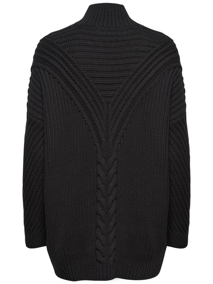 STEHKRAGEN- STRICKPULLOVER, Black, large