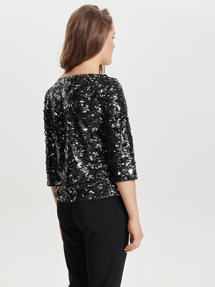 SEQUINS 3/4 SLEEVED TOP, Black, large