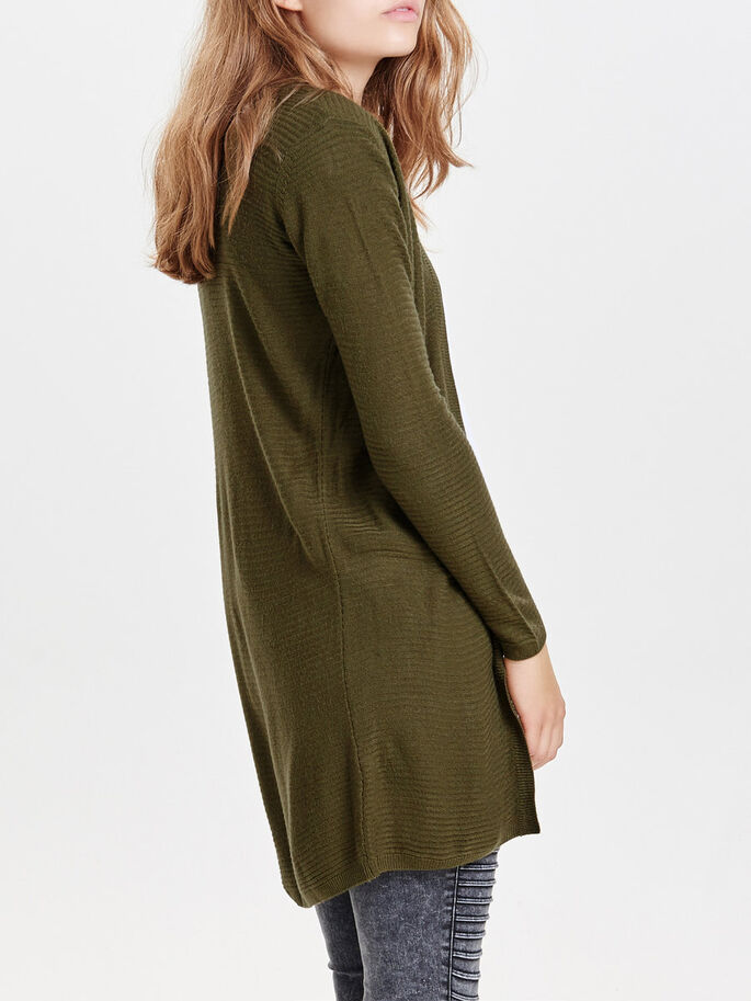 LONG KNITTED CARDIGAN, Dark Olive, large