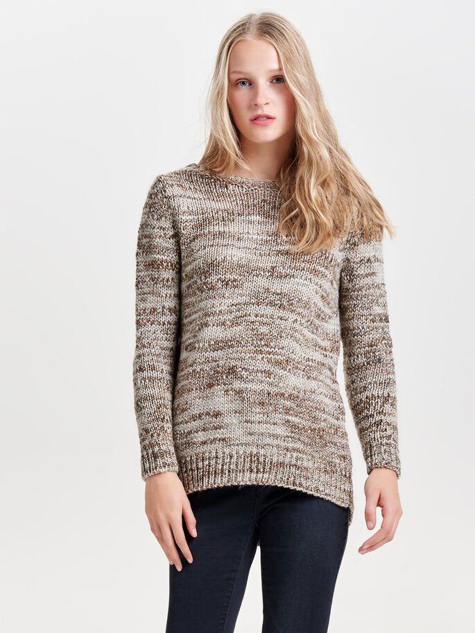 LOOSE KNITTED PULLOVER, Deep Taupe, large