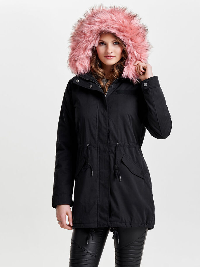LONG PARKA COAT, Black, large