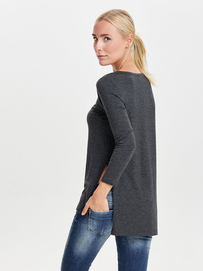 LOOSE LONG SLEEVED TOP, Dark Grey Melange, large