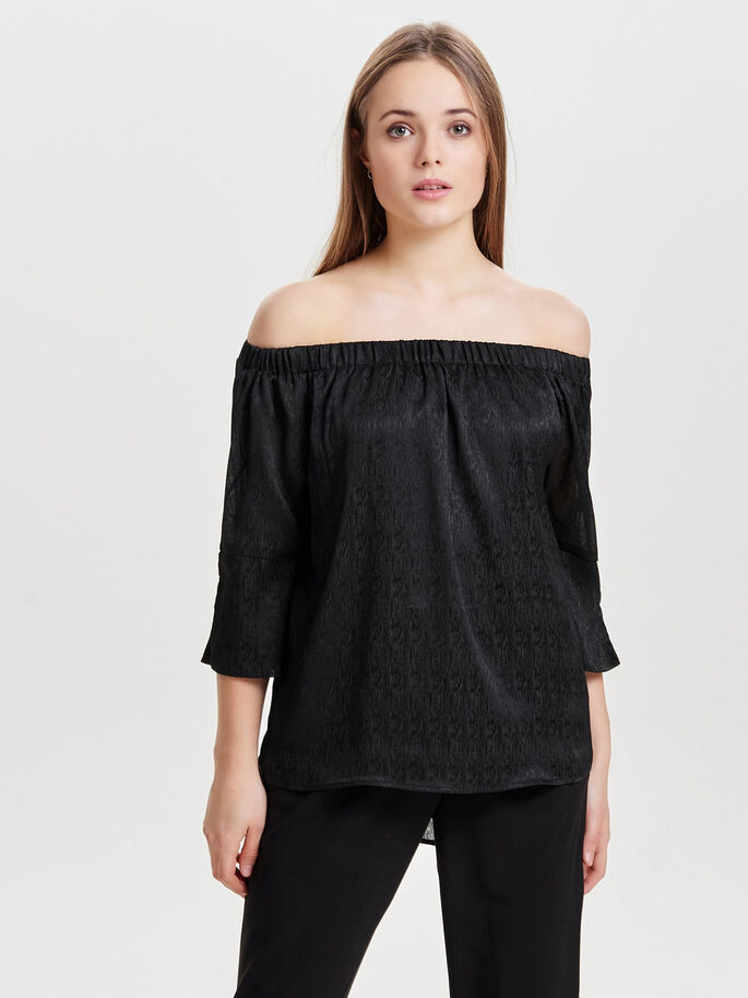 OFF-SHOULDER 3/4 SLEEVED TOP, Black, large