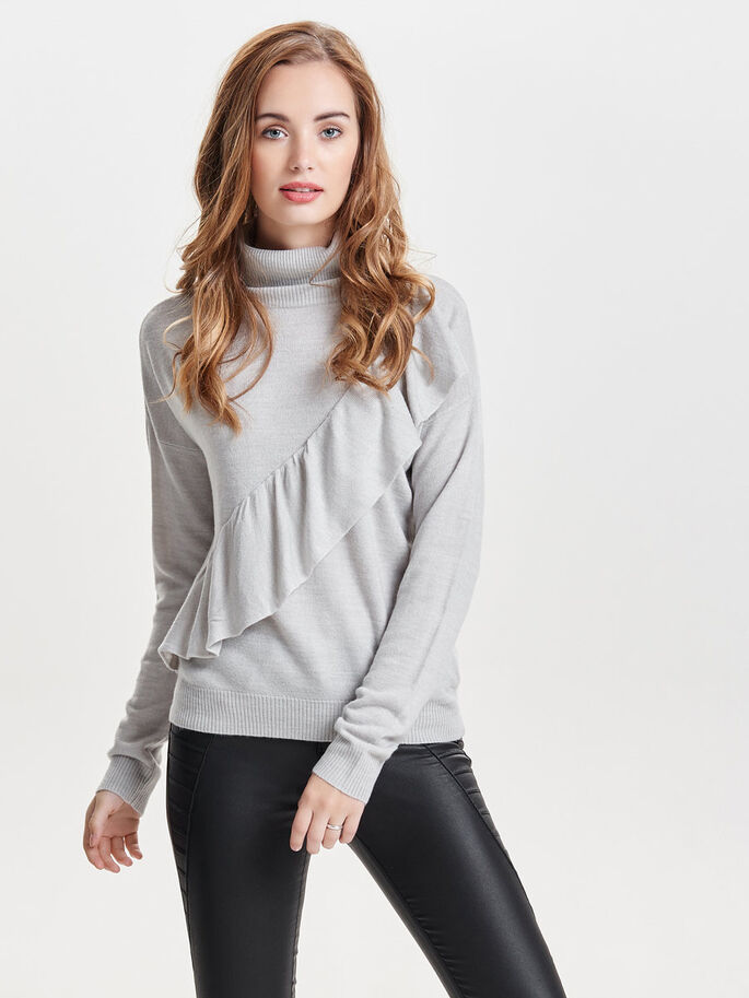RÜSCHEN- STRICKPULLOVER, Light Grey Melange, large
