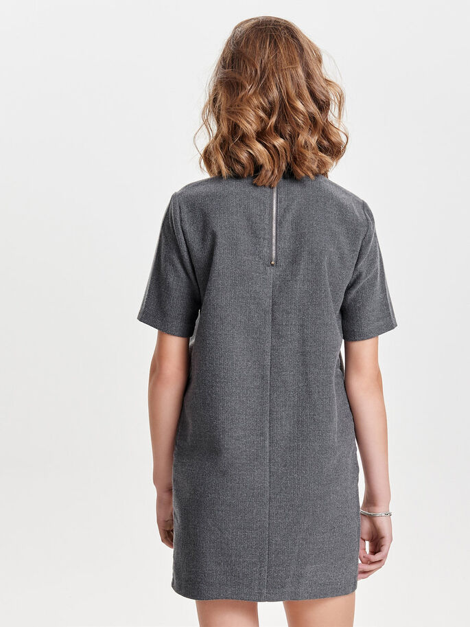 COLLAR SHORT SLEEVED DRESS, Dark Grey Melange, large