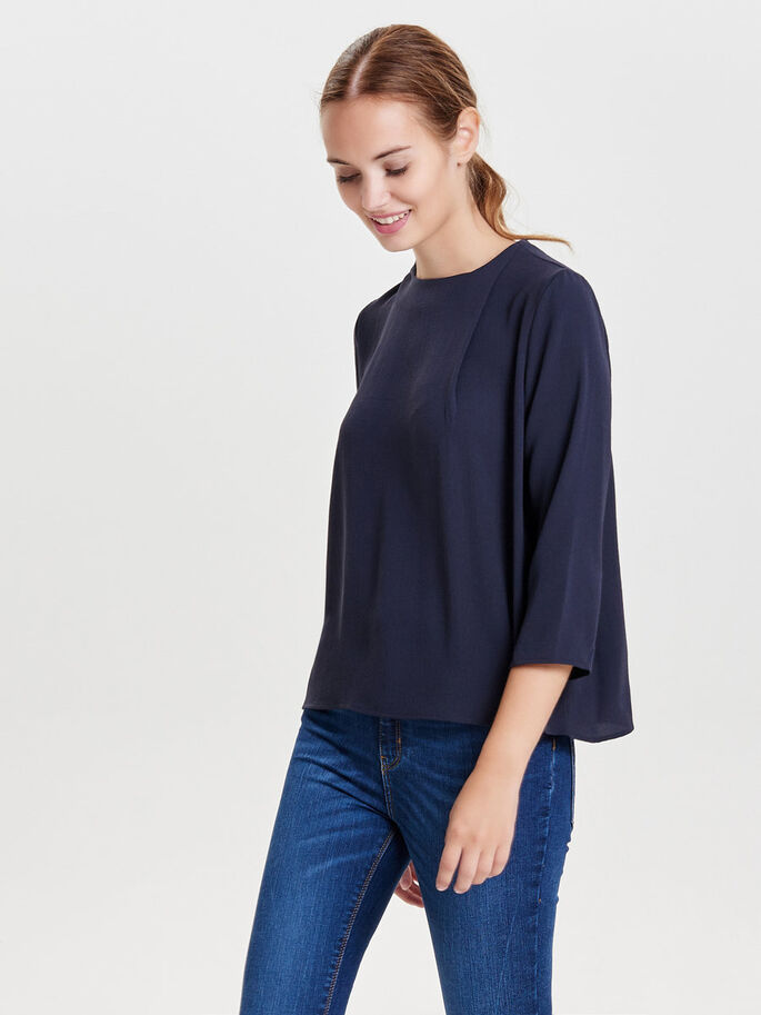 SOLID 3/4 SLEEVED TOP, Deep Well, large