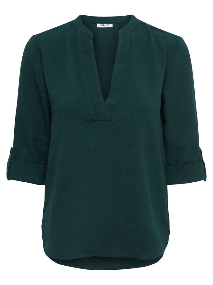 SOLID 3/4 SLEEVED TOP, Scarab, large