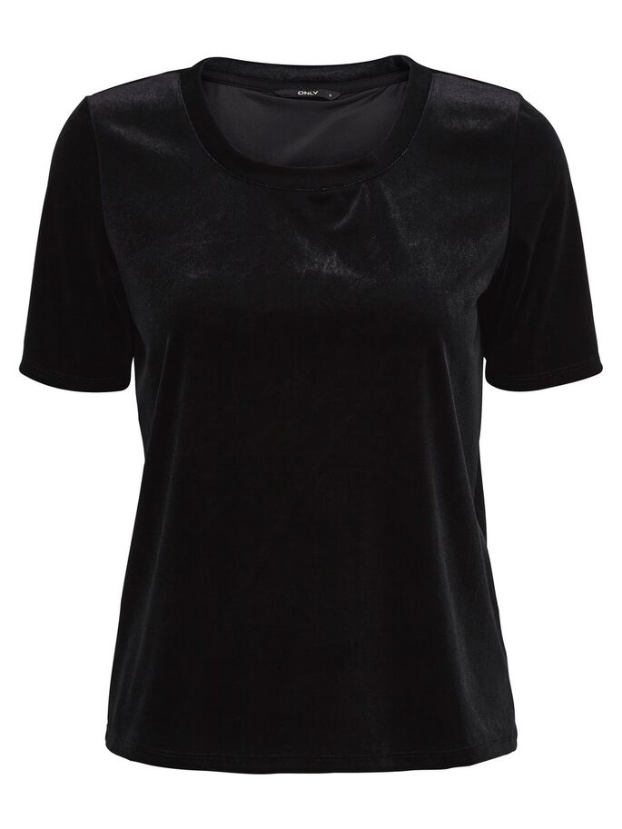 VELOURS TOP MET KORTE MOUWEN, Black, large