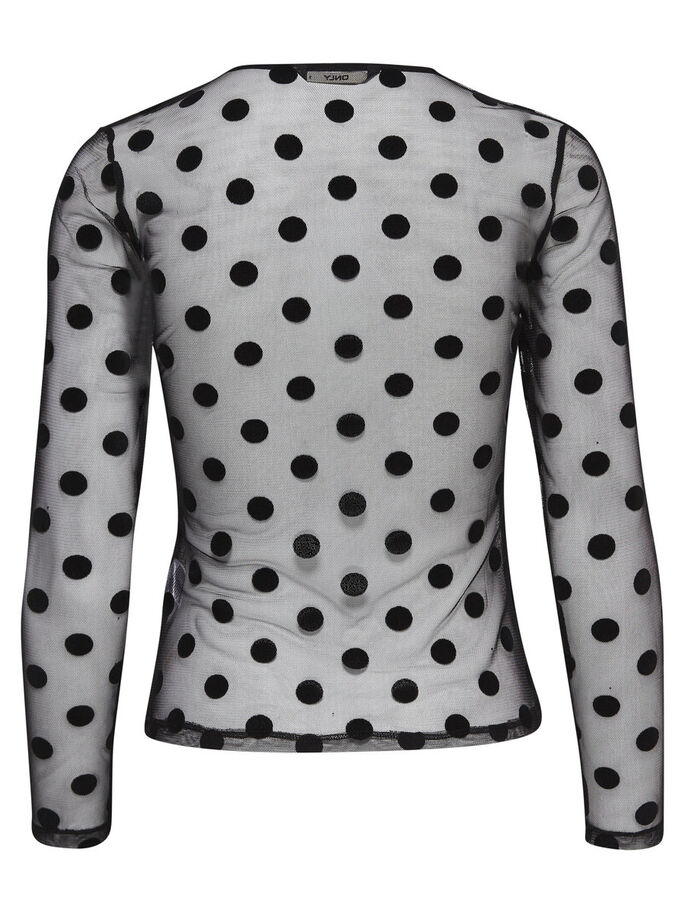DOTTED MESH LONG SLEEVED TOP, Black, large