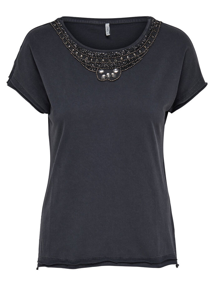 DETAILED SHORT SLEEVED TOP, Blue Graphite, large