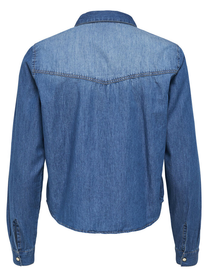 KORT DENIMSKJORTE, Medium Blue Denim, large
