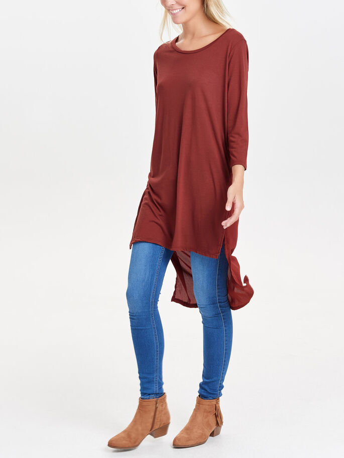 HIGH-LOW 3/4 SLEEVED TOP, Henna, large