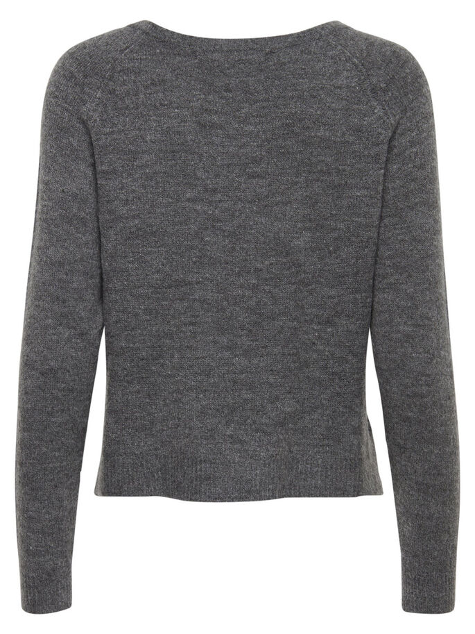 HARTJESPATROON GEBREIDE TRUI, Dark Grey Melange, large