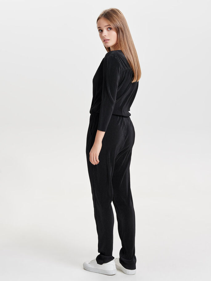 3/4 SLEEVED JUMPSUIT, Black, large