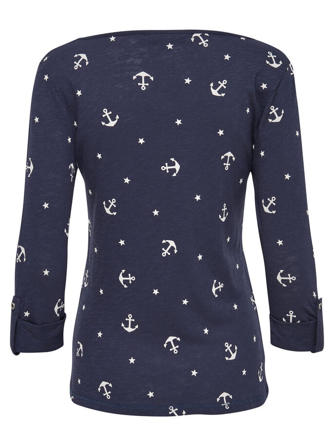 MIX 3/4 SLEEVED TOP, Navy Blazer, large