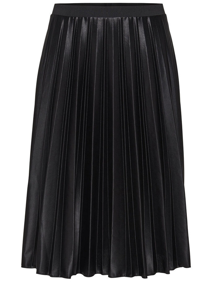 COATED PLISSÉRET MIDI SKIRT, Black, large