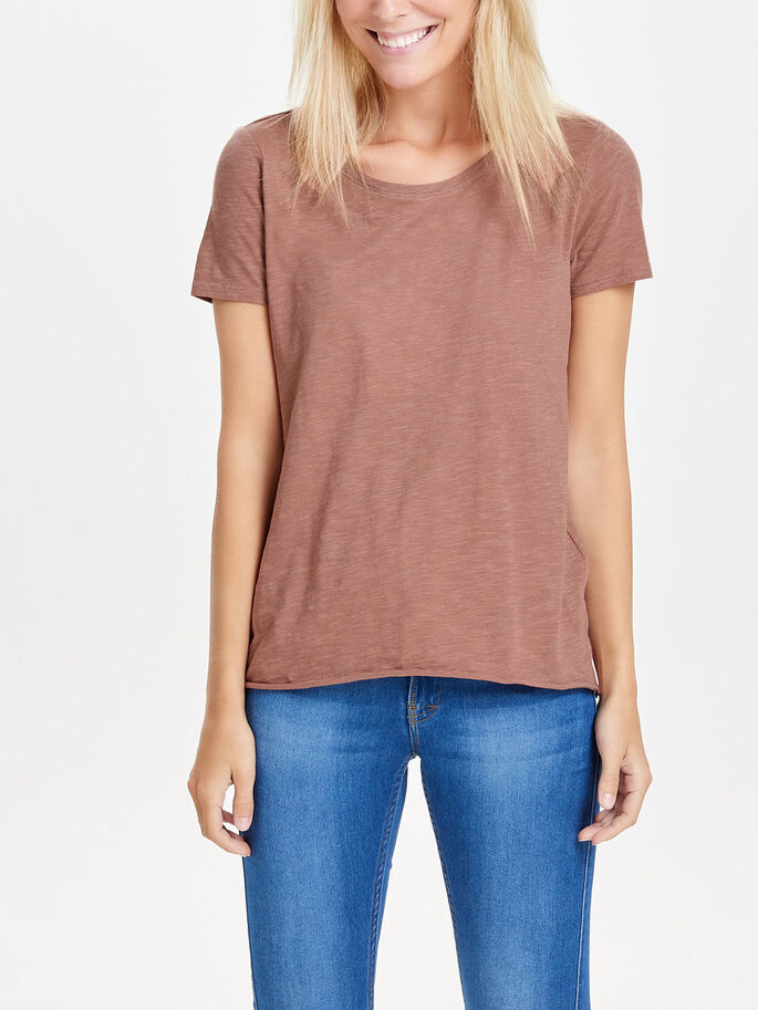 SOLID SHORT SLEEVED TOP, Cognac, large