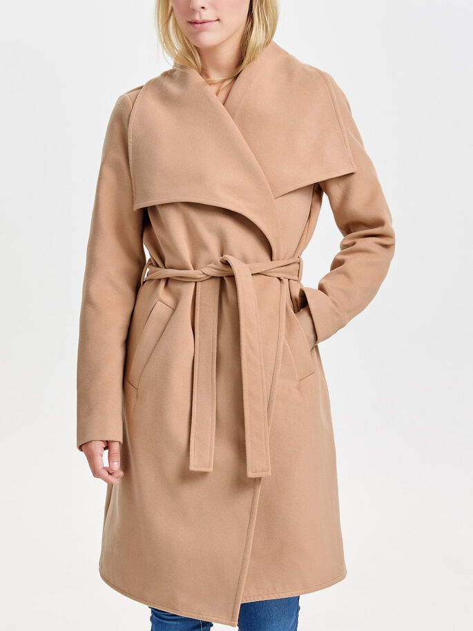 LONG DRAPÉ TRENCH, Camel, large