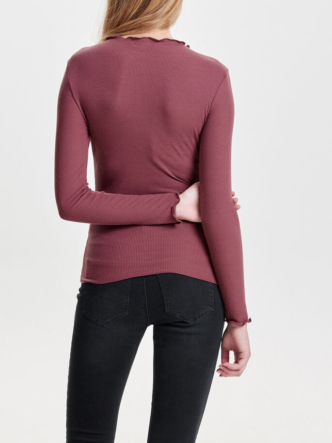 RIBBED 3/4 SLEEVED TOP, Mesa Rose, large