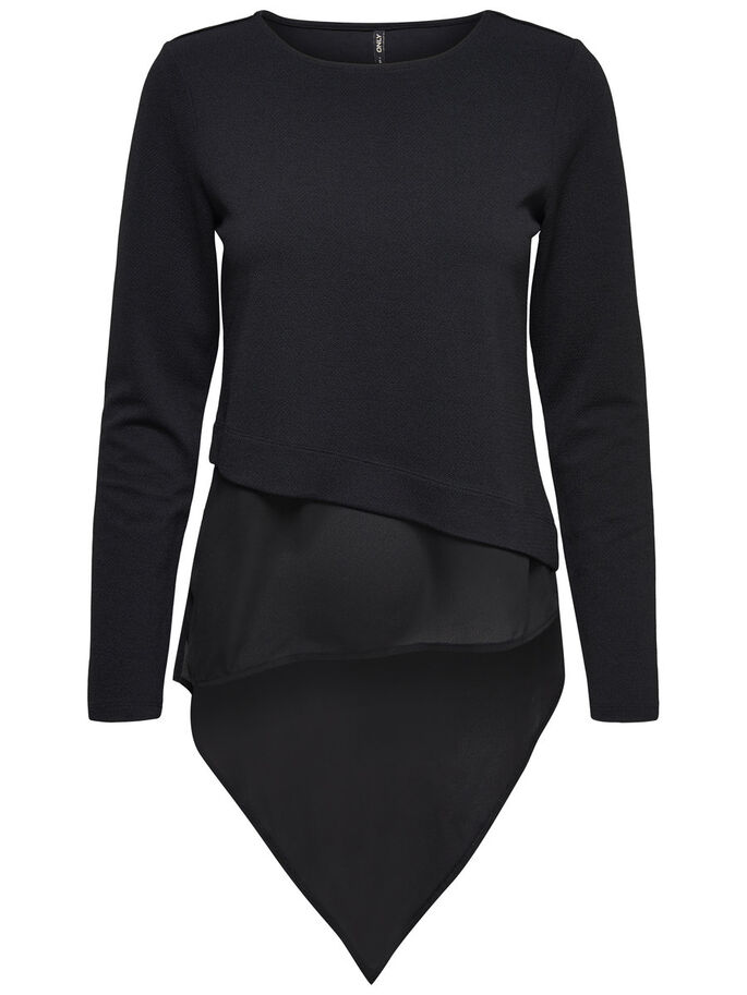 ASYMMETRIC LONG SLEEVED TOP, Black, large